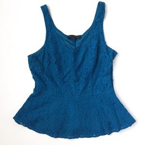 🌵Blue lace sleeveless peplum top